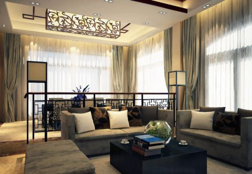 温馨中式风格客厅吊顶设计图