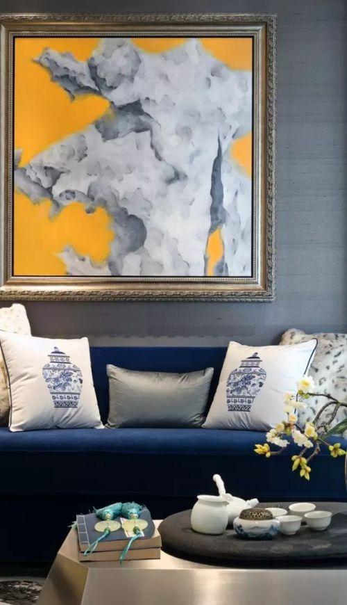 温润平和新中式风格客厅背景墙装饰图