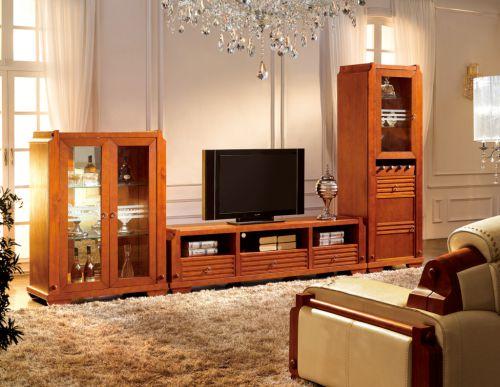 客厅新中式大气实木电视柜效果图