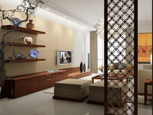 客厅新中式大型实木电视柜效果图设计