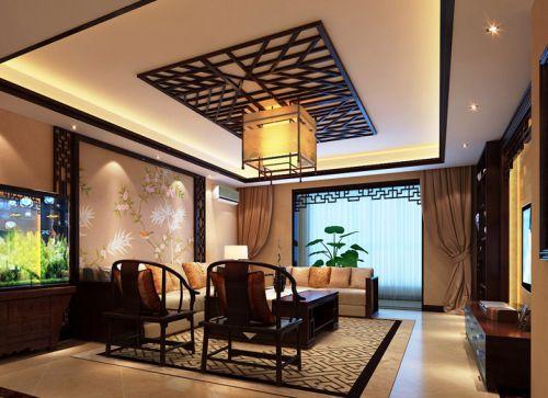 中式风格四居室客厅吊顶装修图片