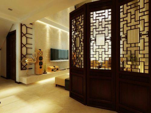 中式家装风三居客厅屏风效果图