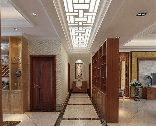 简约中式风格三居室客厅米色壁纸装修效果图