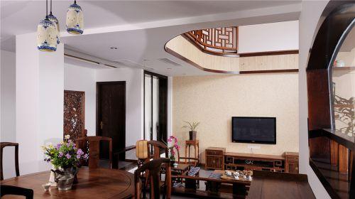 93㎡咖啡色中式客厅沙发装修效果图