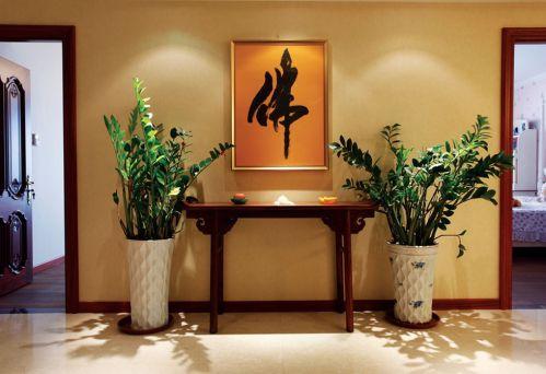 橙色中式风格客厅走廊装修效果图