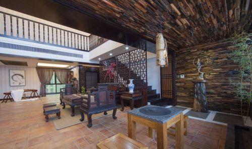 复式咖啡色中式客厅沙发效果图