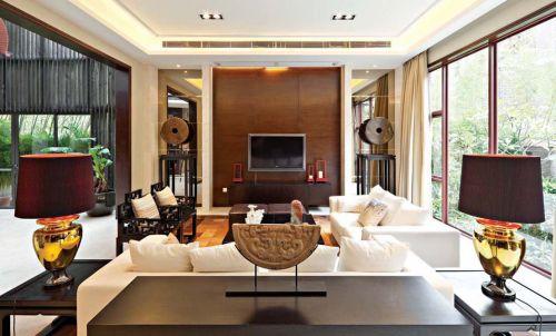 三居室咖啡色中式客厅背景墙效果图
