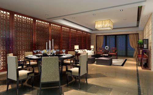 高雅300平中式风格别墅客厅屏风效果图