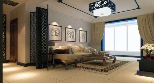 三居室黑色中式客厅屏风装修效果图