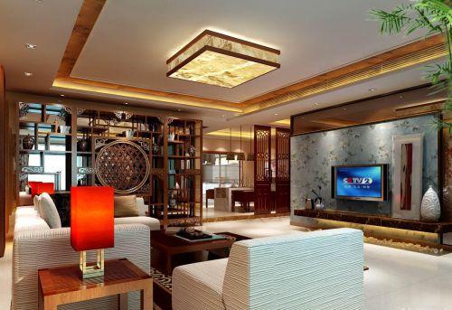 中式风格客厅博古架装修效果图