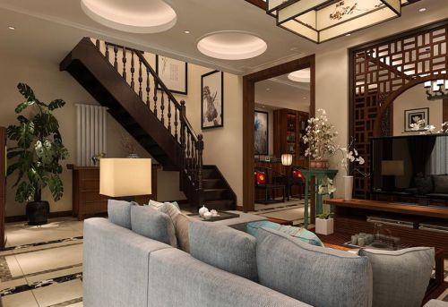 中式风格四居室客厅背景墙装修效果图