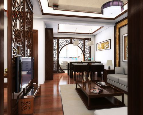 中式古典三居室客厅背景墙装修效果图