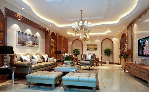 中式风格四居室客厅背景墙装修效果图欣赏