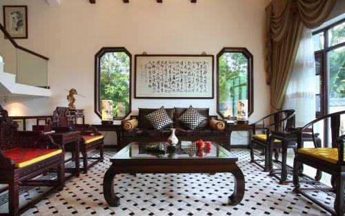 中式风格联排别墅中空客厅茶几设计图