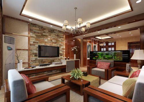 中式风格客厅石质电视背景墙装修效果图