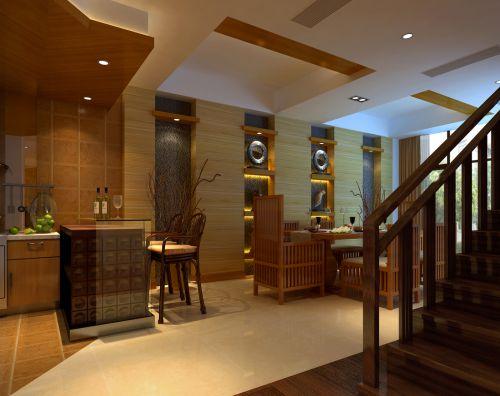 122平别墅中式风格客厅黄色吧台装修效果图
