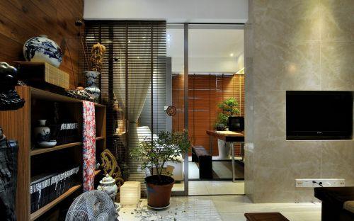 三居室原木色中式客厅书柜效果图