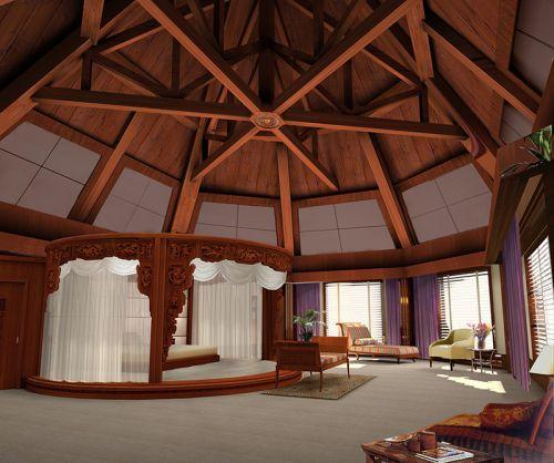 中式古典五居室客厅吊顶装修图片