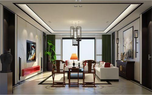 中式风格五居室客厅吊顶装修效果图欣赏
