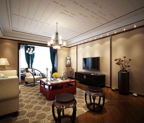中式风格客厅木质茶几装修效果图