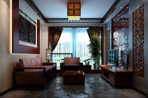 新中式三居室客厅装修效果图欣赏