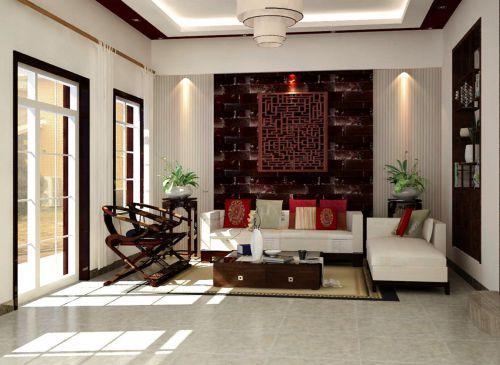 中式风格三居室客厅装修效果图大全