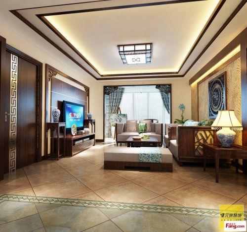 简约中式三居室客厅装修图片欣赏