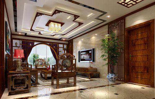 中式风格三居室客厅影视墙装修效果图大全