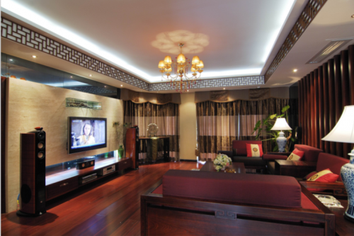 中式风格二居室客厅影视墙装修效果图大全