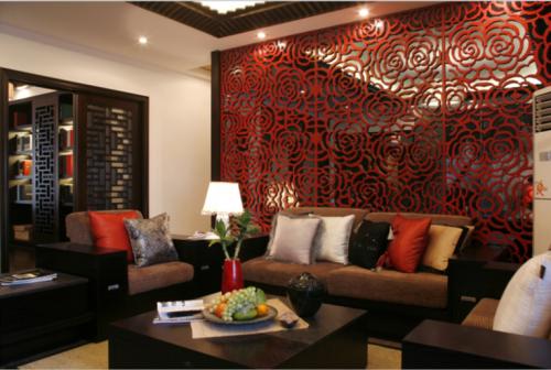 中式风格三居室客厅吊顶装修图片