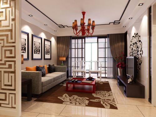 中式风格三居室客厅电视柜装修效果图大全