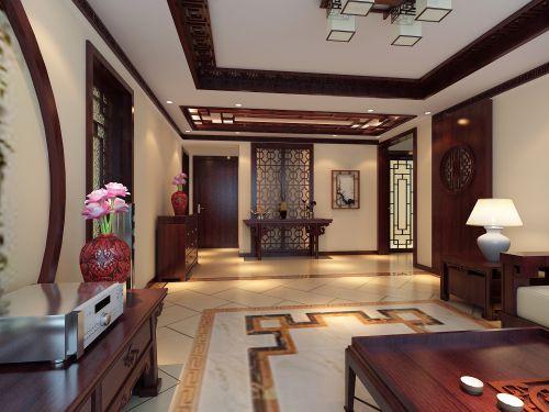 中式风格三居室客厅储物柜梳妆台装修图片