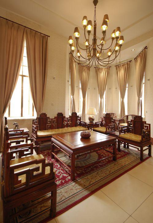 中式风格四居室客厅吊顶装修效果图大全