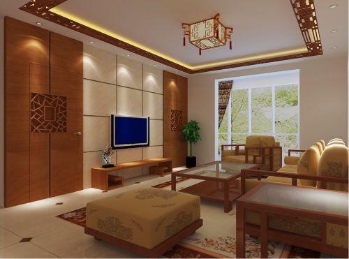 中式风格三居室客厅吊顶装修效果图欣赏