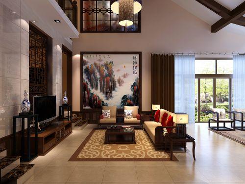 新中式别墅客厅沙发装修效果图
