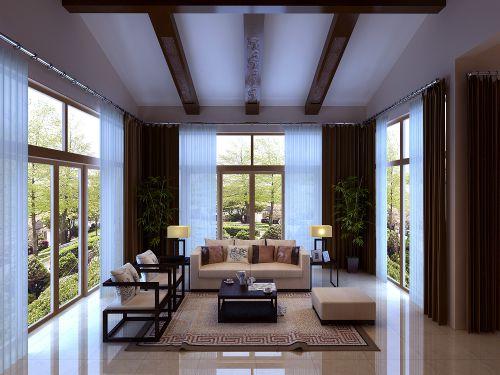 新中式别墅客厅沙发装修效果图欣赏