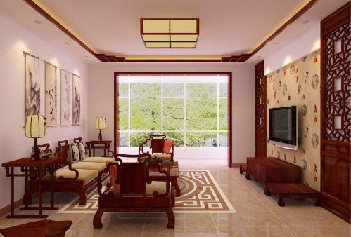 中式风格四居室客厅装修效果图大全