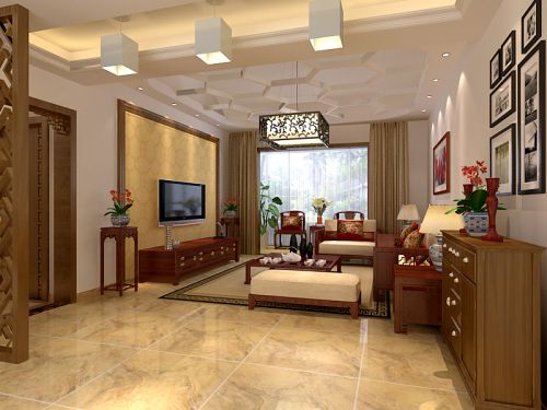 中式古典复式客厅装修效果图
