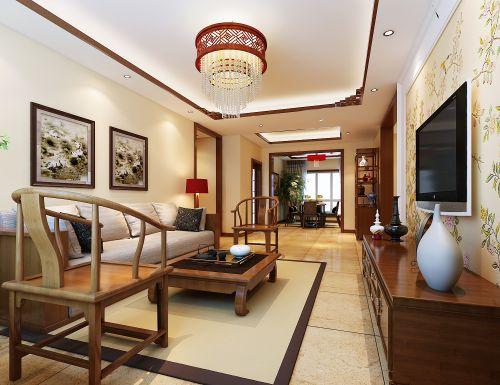 新中式三居室客厅装修图片
