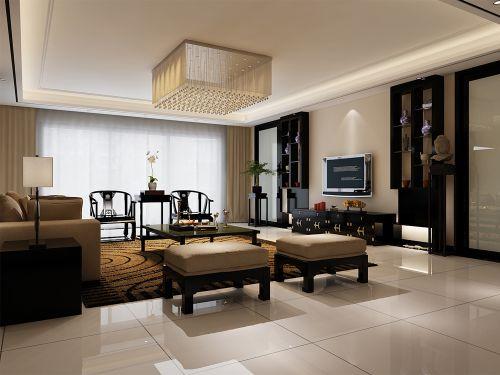 现代中式三居室客厅背景墙装修效果图