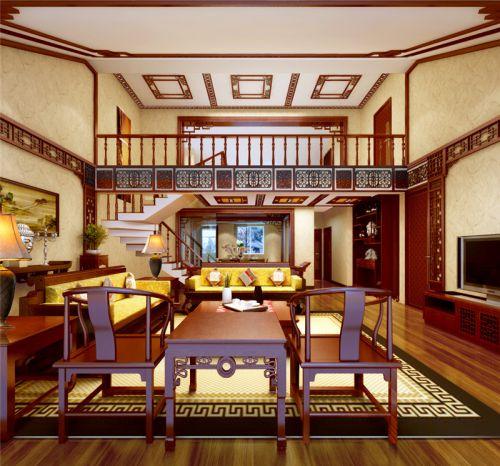 中式风格三居室客厅楼梯装修效果图大全