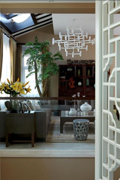中式古典五居室客厅装修效果图欣赏