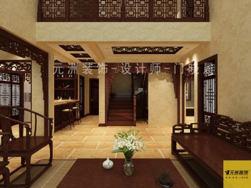 中式风格五居室客厅装修效果图欣赏