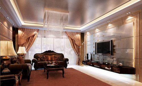 中式古典二居室客厅飘窗装修效果图大全