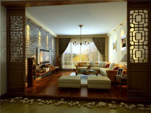 现代中式三居室客厅吊顶装修效果图欣赏