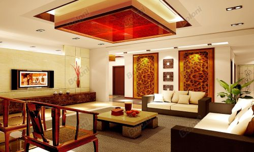 中式古典二居室客厅装修图片