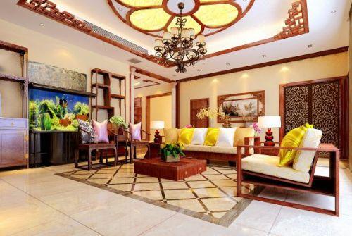 中式风格三居室客厅装修效果图欣赏