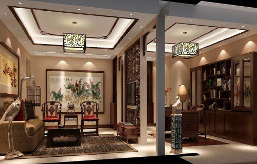 中式风格三居室客厅照片墙装修效果图大全