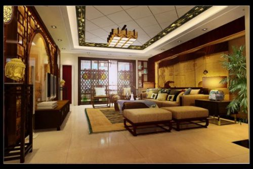 中式风格三居室客厅装修图片