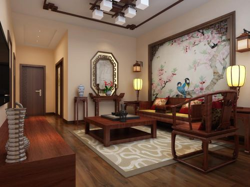 中式古典三居室客厅吊顶装修图片